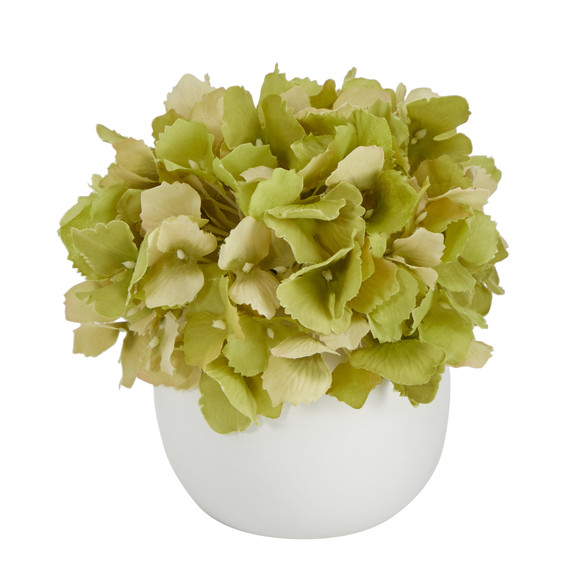 6 Hydrangea Artificial Arrangement in Decorative Vase - SKU #A1605-WH