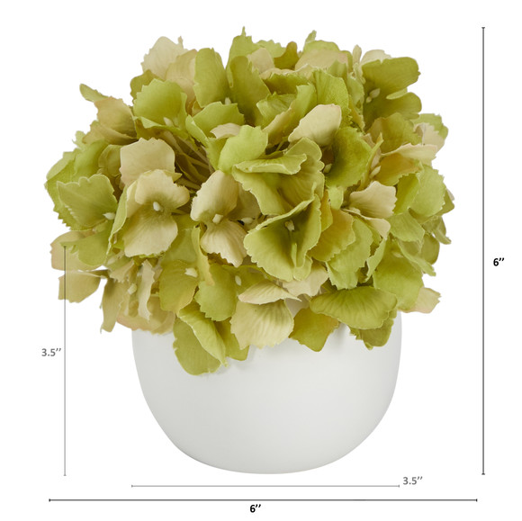 6 Hydrangea Artificial Arrangement in Decorative Vase - SKU #A1605-WH - 1