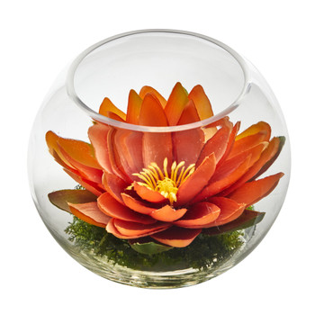 8 Lotus Artificial Arrangement in Glass Vase - SKU #A1606