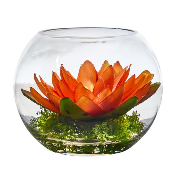 8 Lotus Artificial Arrangement in Glass Vase - SKU #A1606 - 8