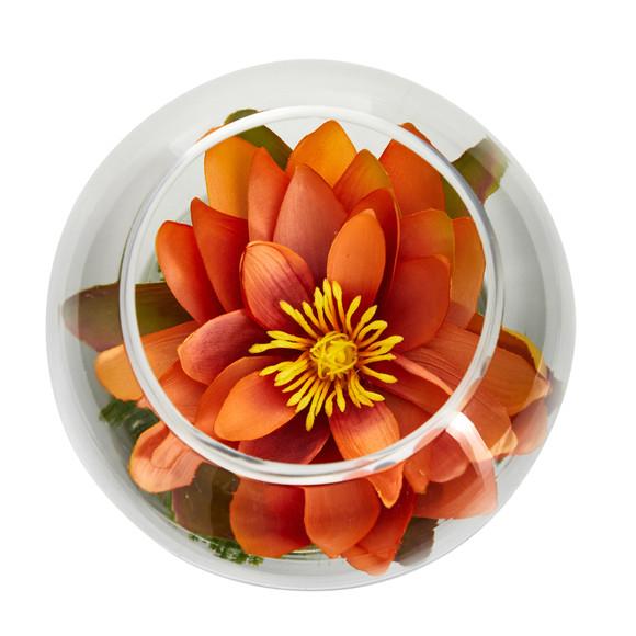 8 Lotus Artificial Arrangement in Glass Vase - SKU #A1606 - 9