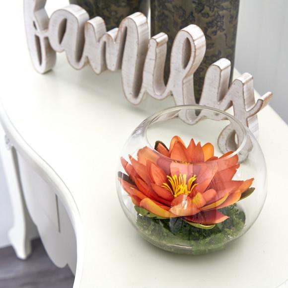 8 Lotus Artificial Arrangement in Glass Vase - SKU #A1606 - 10