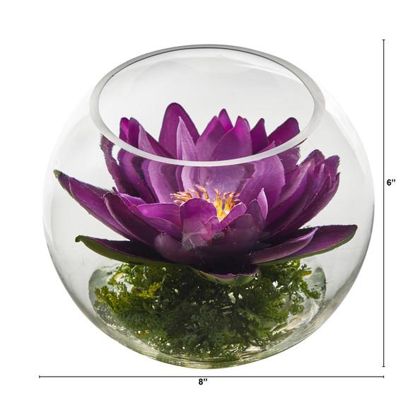 8 Lotus Artificial Arrangement in Glass Vase - SKU #A1606 - 19