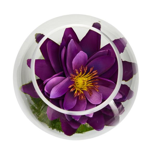 8 Lotus Artificial Arrangement in Glass Vase - SKU #A1606 - 21