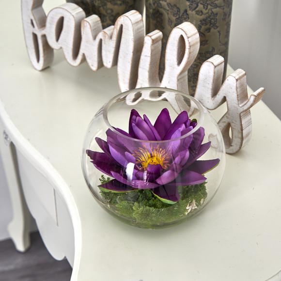 8 Lotus Artificial Arrangement in Glass Vase - SKU #A1606 - 22