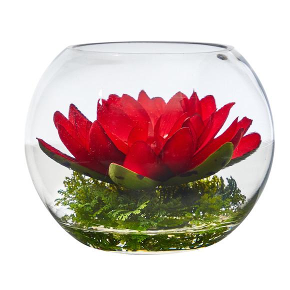 8 Lotus Artificial Arrangement in Glass Vase - SKU #A1606 - 2