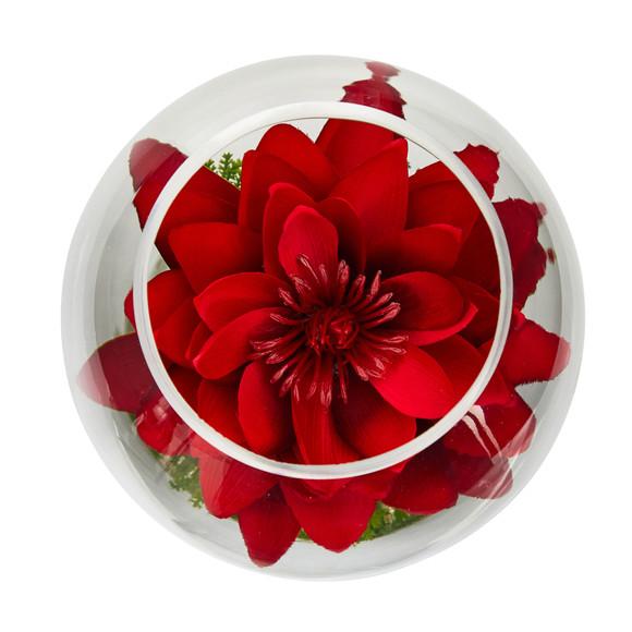 8 Lotus Artificial Arrangement in Glass Vase - SKU #A1606 - 3