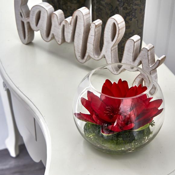 8 Lotus Artificial Arrangement in Glass Vase - SKU #A1606 - 4