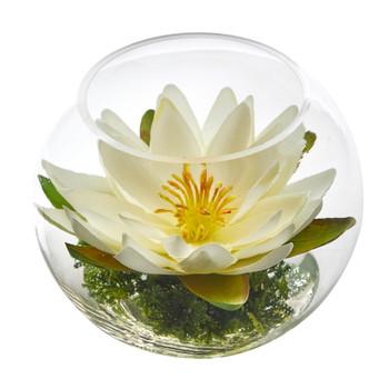 8 Lotus Artificial Arrangement in Glass Vase - SKU #A1606-WH