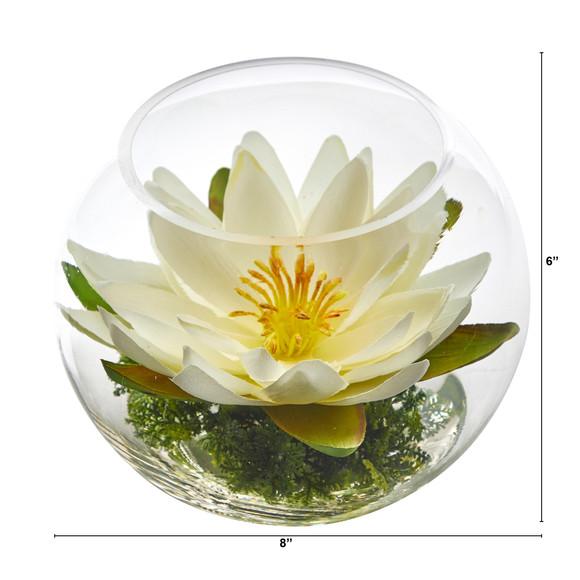 8 Lotus Artificial Arrangement in Glass Vase - SKU #A1606 - 13