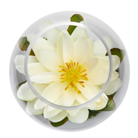 8 Lotus Artificial Arrangement in Glass Vase - SKU #A1606 - 15