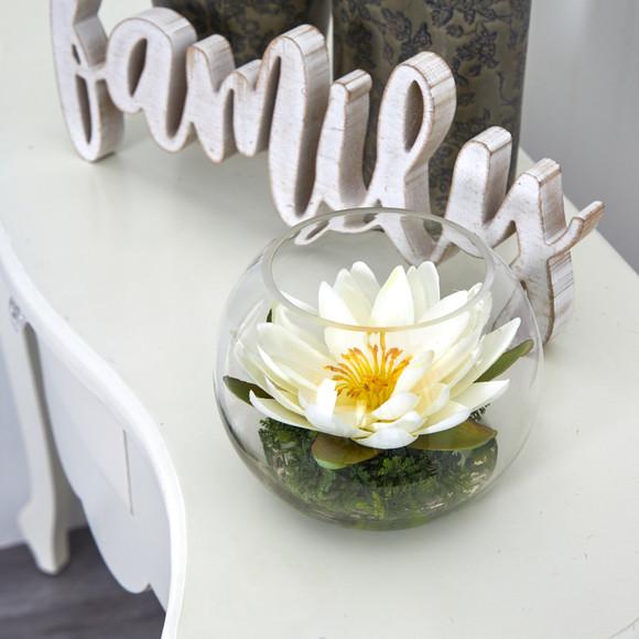 8 Lotus Artificial Arrangement in Glass Vase - SKU #A1606 - 16