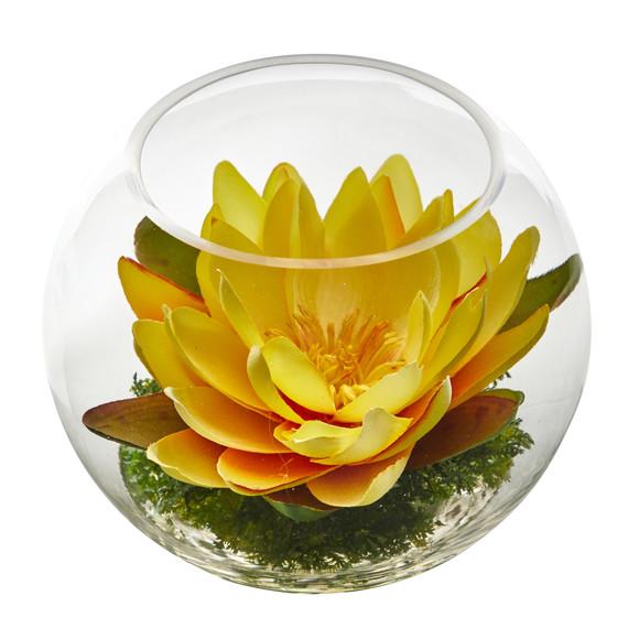 8 Lotus Artificial Arrangement in Glass Vase - SKU #A1606 - 24