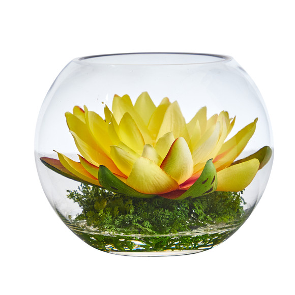 8 Lotus Artificial Arrangement in Glass Vase - SKU #A1606 - 26