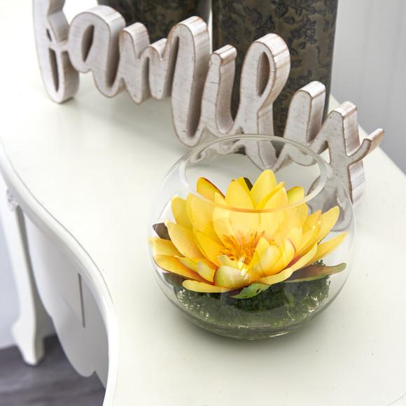 8 Lotus Artificial Arrangement in Glass Vase - SKU #A1606 - 28