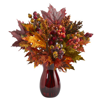 18 Maple Leaf and Berries Artificial Arrangement in Ruby Vase - SKU #A1607