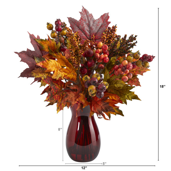 18 Maple Leaf and Berries Artificial Arrangement in Ruby Vase - SKU #A1607 - 1