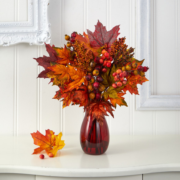 18 Maple Leaf and Berries Artificial Arrangement in Ruby Vase - SKU #A1607 - 2