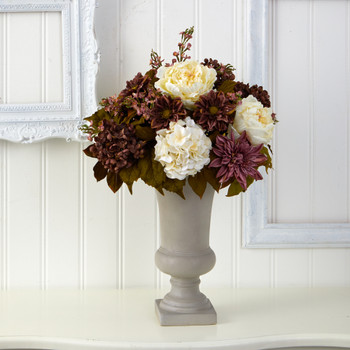 27 Peony Hydrangea and Dahlia Artificial Arrangement in Sand Colored Urn - SKU #A1608