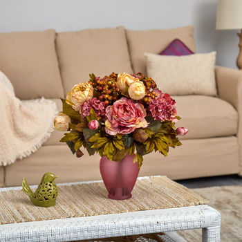 16 Peony Artificial Arrangement in Rose Colored Vase - SKU #A1609