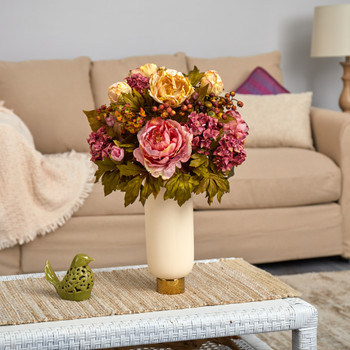 22 Peony Artificial Arrangement in Cream Vase with Gold Base - SKU #A1610