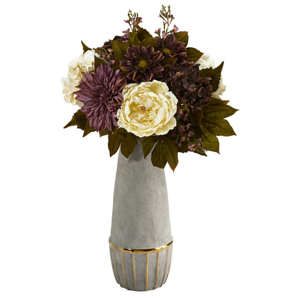 24 Peony Hydrangea and Dahlia Artificial Arrangement in Stoneware Vase with Gold Trimming - SKU #A1611