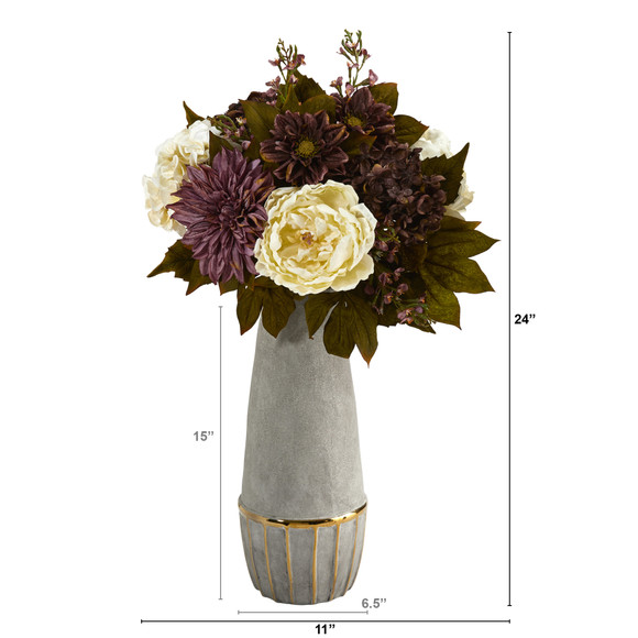 24 Peony Hydrangea and Dahlia Artificial Arrangement in Stoneware Vase with Gold Trimming - SKU #A1611 - 1