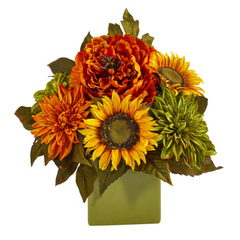 12 Peony Dahlia and Sunflower Artificial Arrangement in Green Vase - SKU #A1612