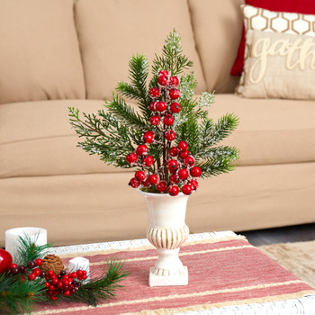 19 Iced Pine and Berries Artificial Arrangement in White Urn - SKU #A1614