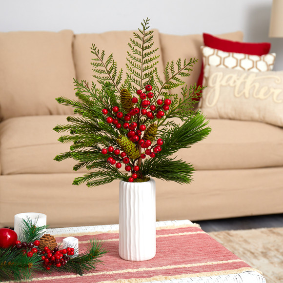 23 Mixed Pine Pinecone and Berry Artificial Arrangement in White Vase - SKU #A1615
