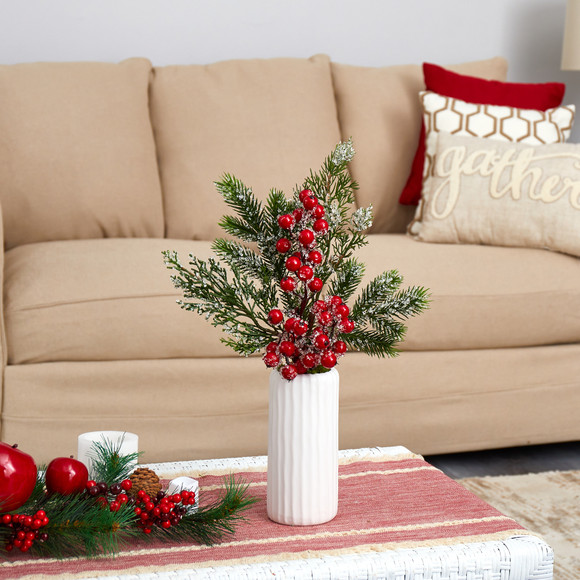 19 Iced Pine and Berries Artificial Arrangement in White Vase - SKU #A1617