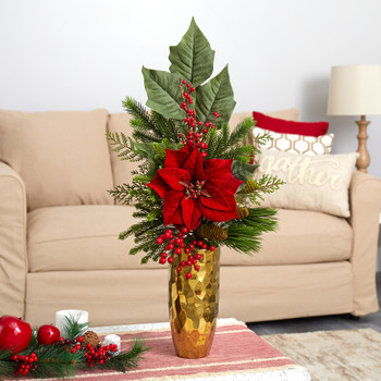 32 Poinsettia Berries Pine and Pinecone Artificial Arrangement in Gold Vase - SKU #A1618