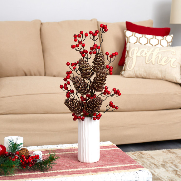 23 Pinecone and Berries Artificial Arrangement in White Vase - SKU #A1619