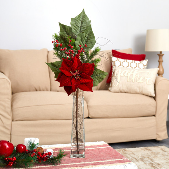 32 Poinsettia Berries and Pine Artificial Arrangement in Glass Vase - SKU #A1621