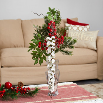 25 Wisteria Iced Pine and Berries Artificial Arrangement in Glass Vase - SKU #A1622