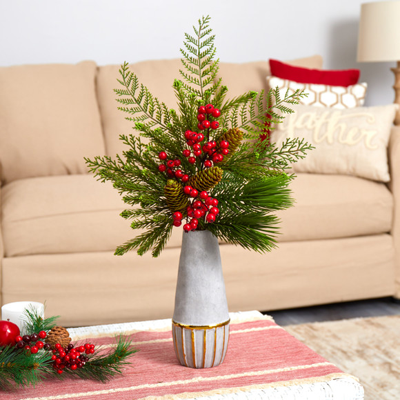 24 Mixed Pine Pinecone and Berry Artificial Arrangement in Stoneware Vase with Gold Trimming - SKU #A1623