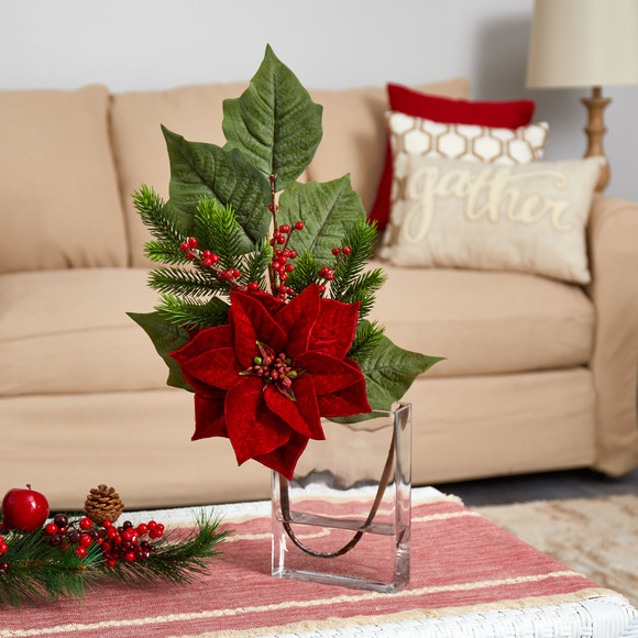 23 Poinsettia Berries and Pine Artificial Arrangement in Glass Vase - SKU #A1624