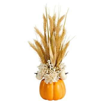 21 Autumn Dried Wheat and Pumpkin Artificial Fall Arrangement in Decorative Pumpkin Vase - SKU #A1776