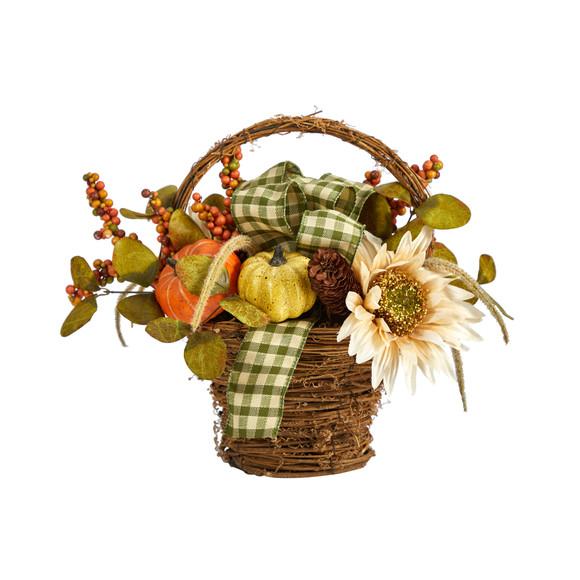 16 Fall Pumpkin Gourds and Berries Artificial Autumn Arrangement - SKU #A1777