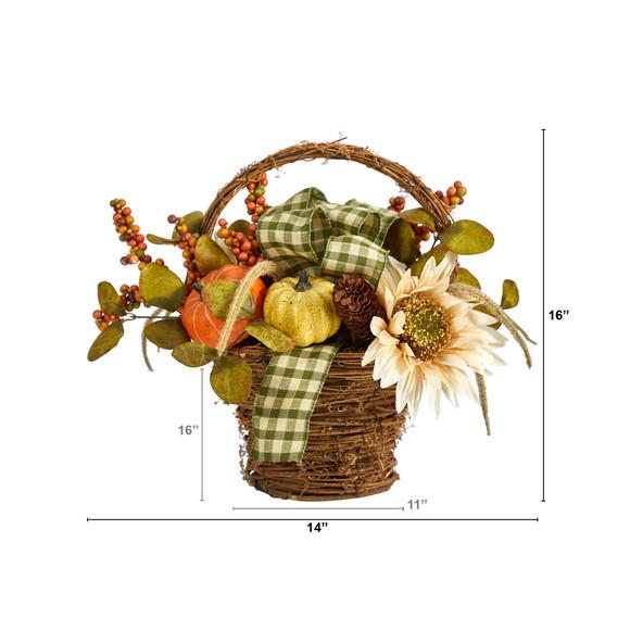 16 Fall Pumpkin Gourds and Berries Artificial Autumn Arrangement - SKU #A1777 - 1