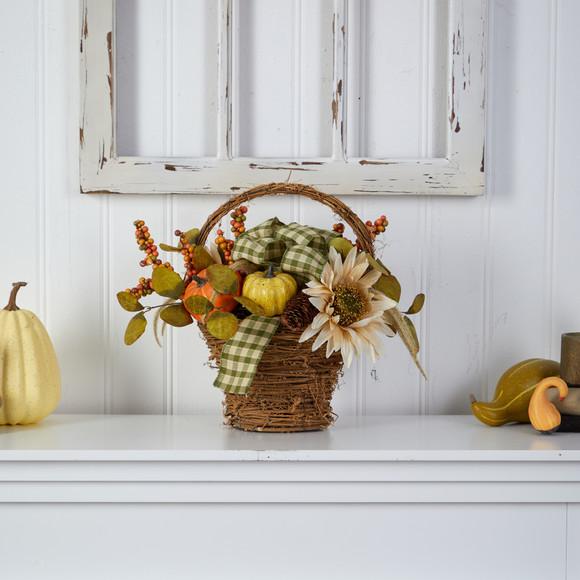 16 Fall Pumpkin Gourds and Berries Artificial Autumn Arrangement - SKU #A1777 - 2
