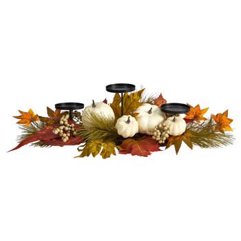 22 Fall Pumpkin and Maple Leaf Autumn Candelabrum - SKU #A1778