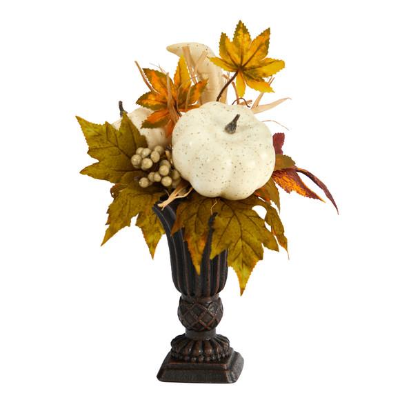 13 Fall Pumpkin and Berries Artificial Autumn Arrangement in Decorative Urn - SKU #A1779
