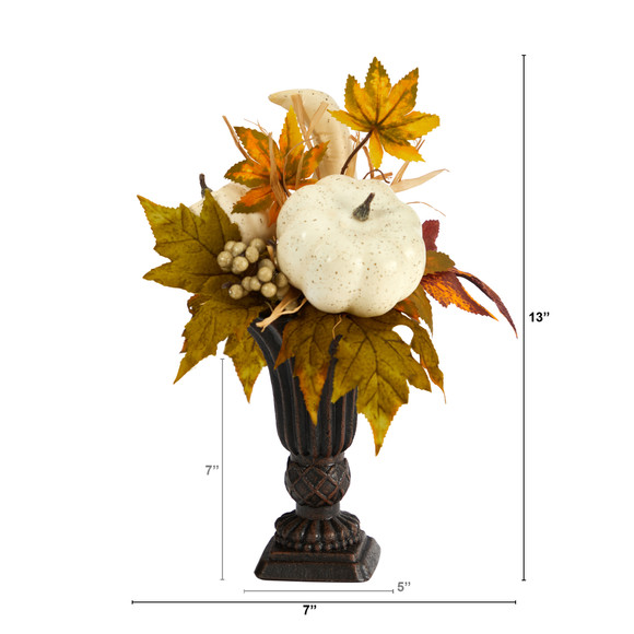 13 Fall Pumpkin and Berries Artificial Autumn Arrangement in Decorative Urn - SKU #A1779 - 1