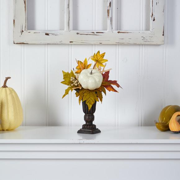 13 Fall Pumpkin and Berries Artificial Autumn Arrangement in Decorative Urn - SKU #A1779 - 2