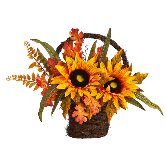 16 Fall Sunflower Artificial Autumn Arrangement in Decorative Basket - SKU #A1780