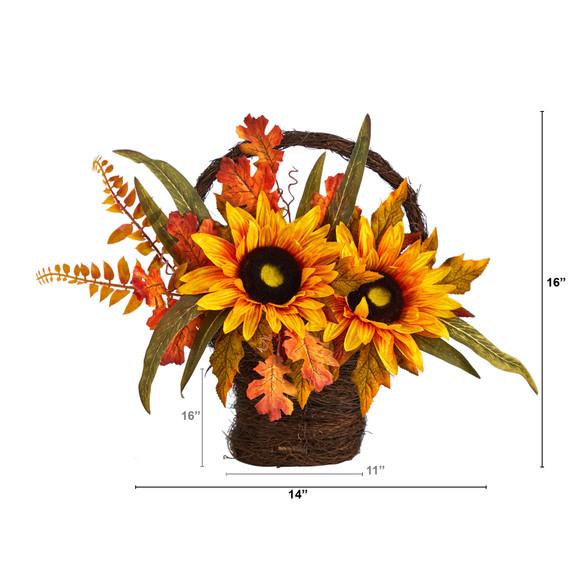 16 Fall Sunflower Artificial Autumn Arrangement in Decorative Basket - SKU #A1780 - 1