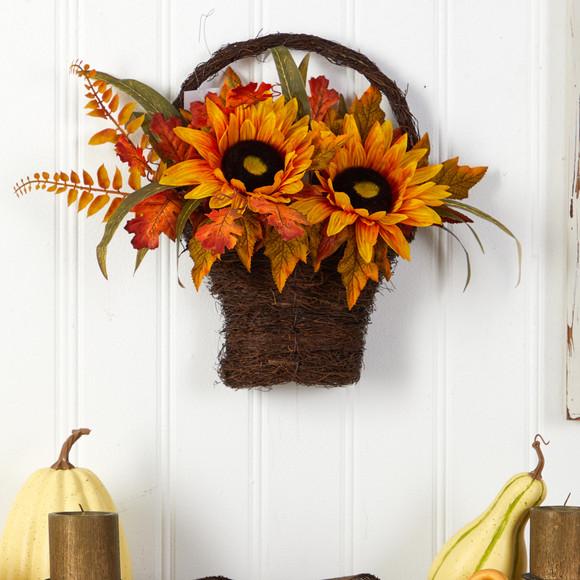 16 Fall Sunflower Artificial Autumn Arrangement in Decorative Basket - SKU #A1780 - 2