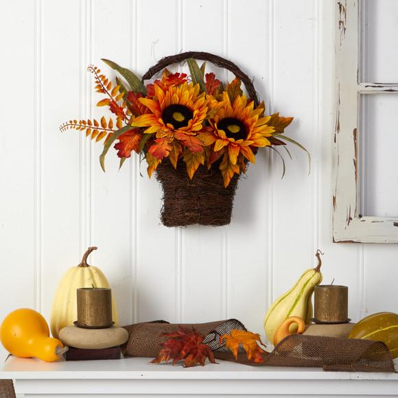 16 Fall Sunflower Artificial Autumn Arrangement in Decorative Basket - SKU #A1780 - 3