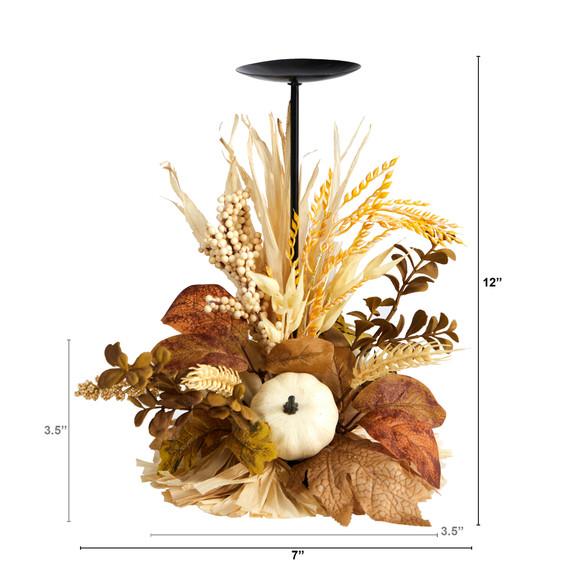 12 Autumn Harvest and Pumpkin Fall Candle Holder - SKU #A1782 - 1
